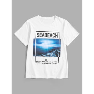 Men Letter And Sea Print Tee