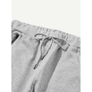 Men Tape Side Letter Print Drawstring Pants