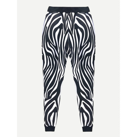 Men Zebra Pattern Drawstring Pants