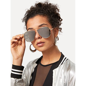 Mirror Lens Top Bar Sunglasses