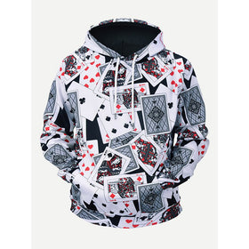 Men Playing Card Print Hooded Sweatshirt