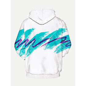 Men Abstract Brush Strokes Print Hooded Sweatshirt