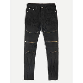 Men Zip Decoration Ruched Denim Pants