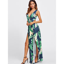 Surplice Neckline Open Back M-Slit Jungle Print Dress