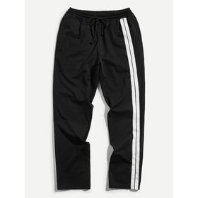 Men Striped Side Drawstring Pants