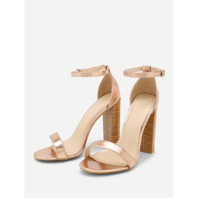 Two Part Block Heeled PU Sandals