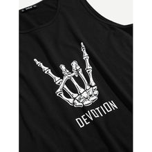 Men Skeleton Hand and Letter Print Tank Top