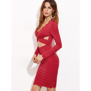 Cutout Crossover Front Scallop Trim Dress
