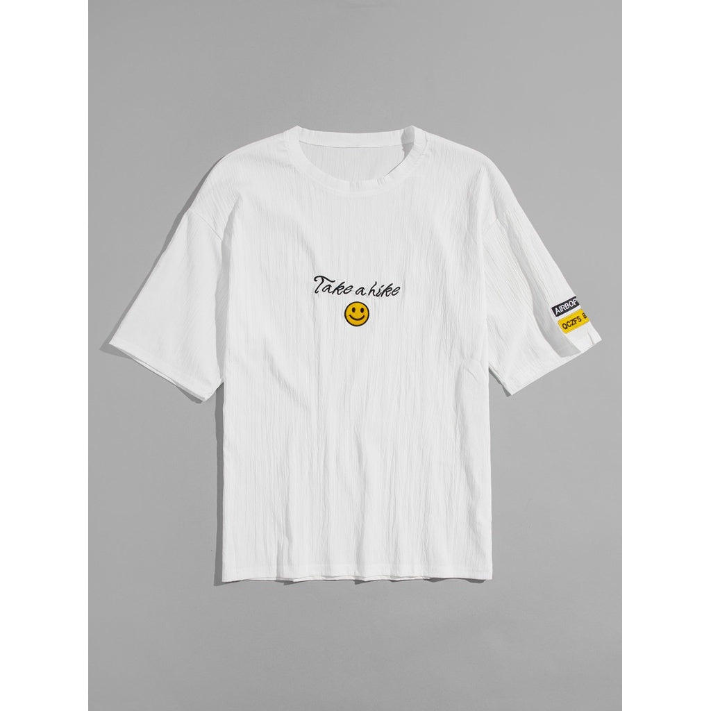 Men Smile Embroidery T-shirt