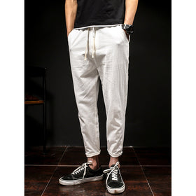 Men Drawstring Rolled Hem Harem Pants