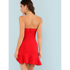 Ruffle Hem Sweetheart Neck Strapless Dress