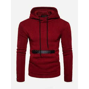 Men Zip Decoration Plain Hooded Sweatshirt