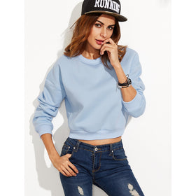 Drop Shoulder Crop Sweatshirt