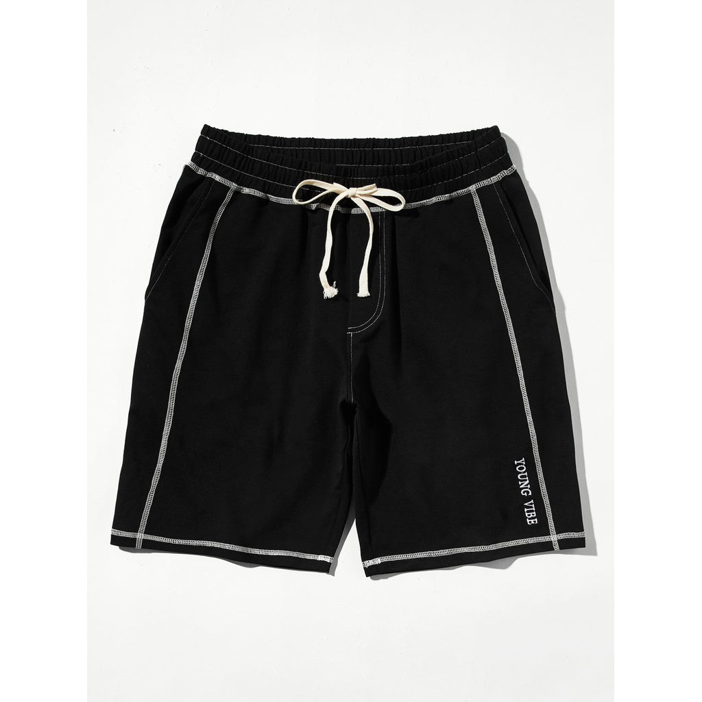 Men Contrast Binding Drawstring Shorts