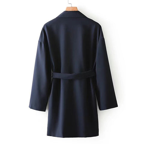 Drop Shoulder Self Tie Coat