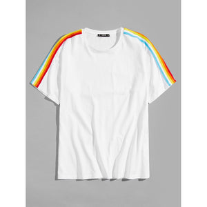 Men Rainbow Striped Side Tee
