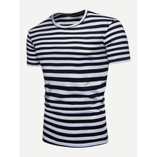 Men Striped Cuffed Tee