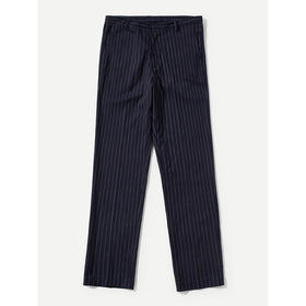 Men Striped Print Straight Leg Pants
