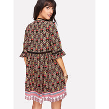 Ruffles Sleeve Surplice Wrap Tunic Dress