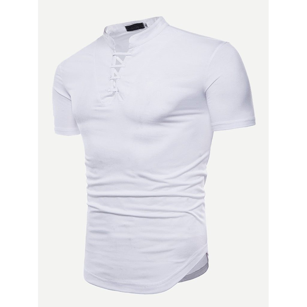 Men Strappy Detail Curved Hem Tee