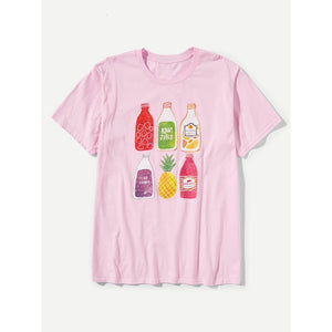 Men Juice Bottles Print Tee
