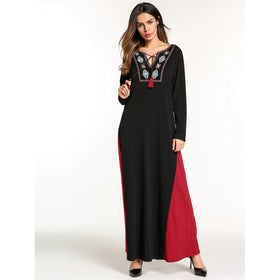 Graphic Embroidered Colorblock Longline Dress