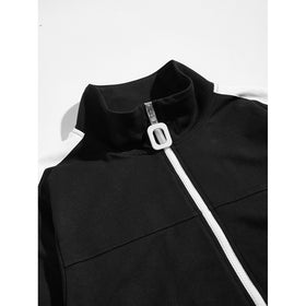 Men Contrast Panel Zip Up Jacket