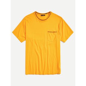 Men Pocket Front Contrast Stitch T-shirt