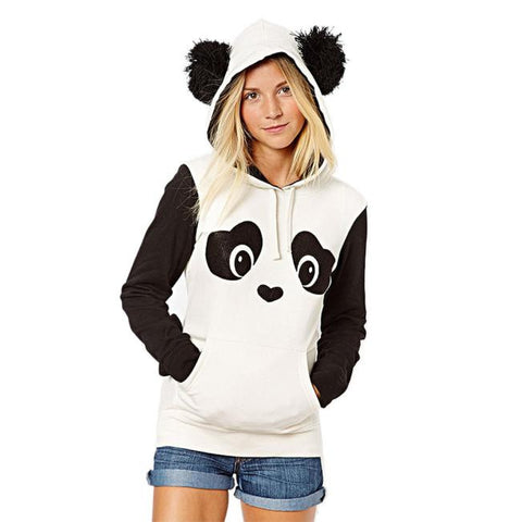 Womens Panda Pocket Hoodie Sweatshirt Hooded Pullover Tops Blouse