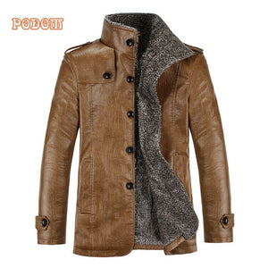 Retro PU Leather Jackets Men's Winter Warm Thick Coats Men Windproof Outerwear Casual Slim Buttons Up Lined Jacket Plus Size 4XL
