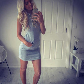 Fashion Womens Summer Casual Sleeveless Hoody Dress