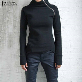 ZANZEA Women Hoodies Sweatshirts 2018 Autumn Casual Solid Long Sleeve Turtleneck Pullovers Zippers Slim Fit Blusas Plus Size Top