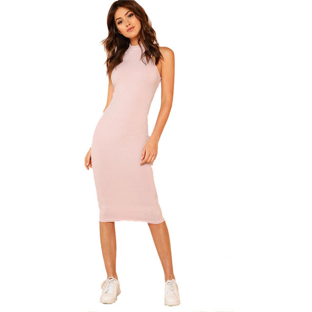 SHEIN Pink Mock Neck Rib Knit Plain Pencil Dress Women Stand Collar Sleeveless Slim Dress 2018 Elegant Going Out Bodycon Dress