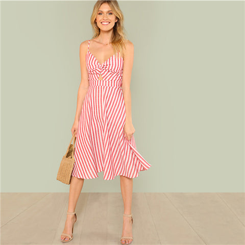 SHEIN Red Vacation Boho Bohemian Beach Backless Twist Front Cutout Knot Back Striped V Neck Cami Dress Summer Women Sexy Dresses