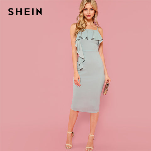 SHEIN Green Party Elegant Flounce Embellished Fitted Ruffle Spaghetti Strap Natural Waist Dress Summer Women Going Out Dresses