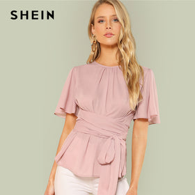 SHEIN Pink Weekend Casual Pleated Front Self Belted Round Neck Short Sleeve Solid Blouse Summer Women Going Out Shirt Top