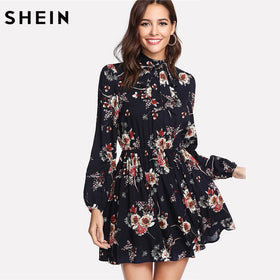 SHEIN Autumn Floral Women Dresses Multicolor Elegant Long Sleeve High Waist A Line Chic Dress Ladies Tie Neck Dress