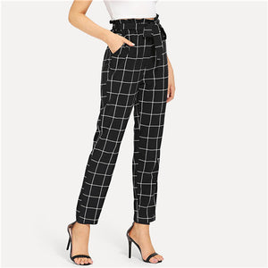 SHEIN Black And White Office Lady Elegant Self Belted Slant Pocket Grid High Waist Pants 2018 Autumn Minimalist Women Trousers