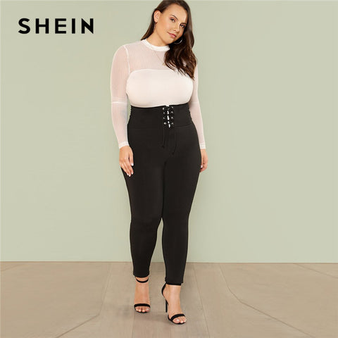 SHEIN Plus Size Black Lace Up Wide Waistband High Waist Women Cropped Leggings 2018 Stretchy Skinny Tapered Solid Leggings