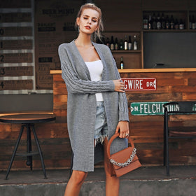 Simplee Casual knitted long cardigan female Loose cardigan jumper 2018 Autumn winter sweater women cardigan