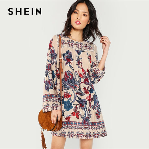 SHEIN Multicolor Lace Eyelet Flower Print Dress Beach Vacation Botanical Short Dresses Women Autumn Streetwear Tunic Mini Dress