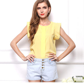 USA SIZE Large size chiffon t-shirt Solid color short-sleeved shirt Feifei sleeve chiffon shirt