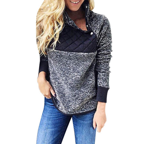 Womens Flannel Patchwork Long Sleeve Sweatshirt Pullover Tops Blouse