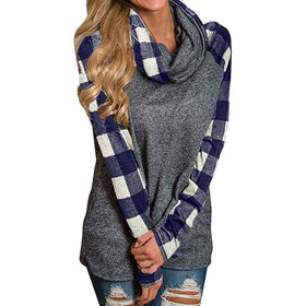 Womens Turtleneck Tops Plaid Shirts Tunic Long Sleeve Pullover Sweatshirt