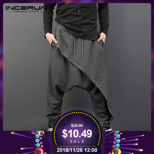 INCERUN Plus Size Men Casual Drape Drop Crotch Harem Hip Hop Pants Trouser Baggy Dancing Pants Gothic Punk Style Harem Pants Men