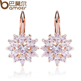 BAMOER 3 Colors Luxury Gold Color Flower Stud Earrings with Zircon Stone Women Birthday Gift Bijouterie JIE014