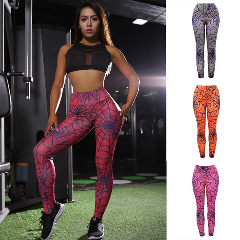 Women Hight Waist Yoga Mesh Print Legging Running Sports Pants Trouser