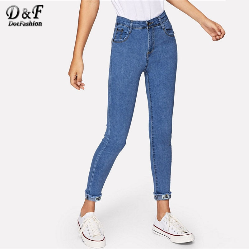 Dotfashion Blue Roll Up Hem Skinny Jeans Woman 2019 Autumn Casual High Waisted Pants Womens Clothing Korean Style Plain Trousers
