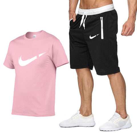 Two Piece Set Men Short Sleeve T Shirt Cropped Top+Shorts Men's Tracksuits 2019 New Causal Sportswear Tops Short Trousers