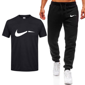 2019 Summer Hot Sale Men's Sets T Shirts+pants Two Pieces Sets Casual Tracksuit new Male Casual Tshirt Gyms Fitness trousers men
